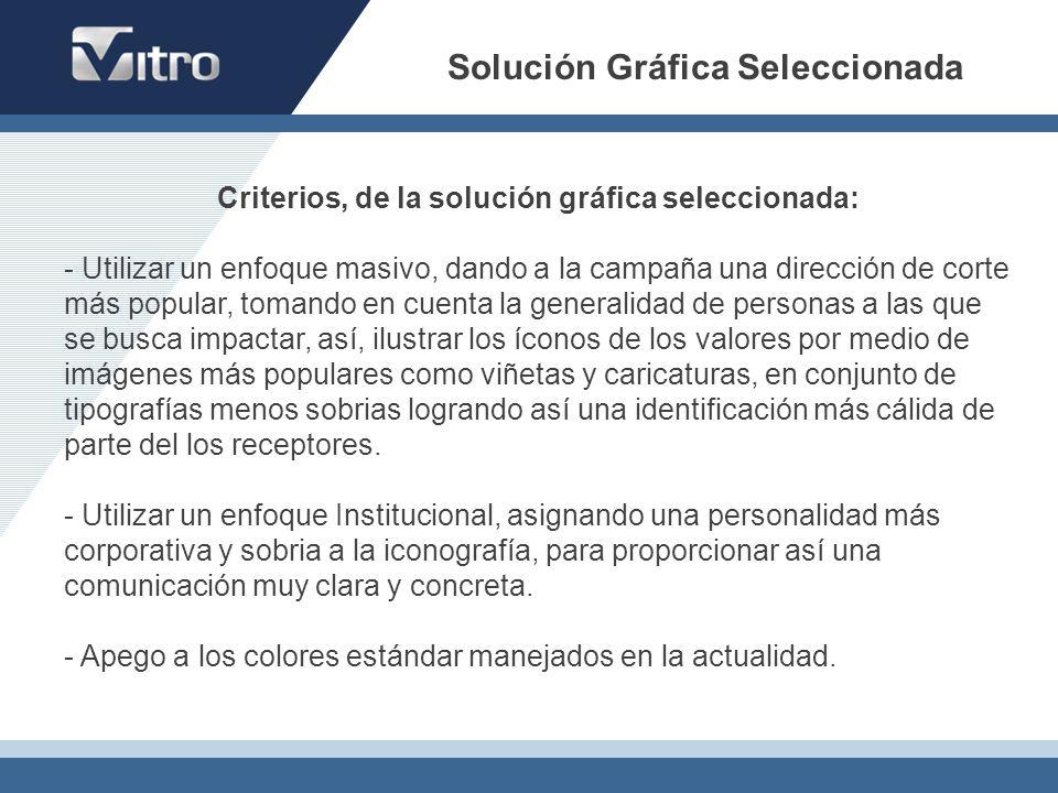Solución Gráfica Seleccionada Criterios, de la solución gráfica seleccionada: - Utilizar un enfoque masivo, dando a la campaña una dirección de corte
