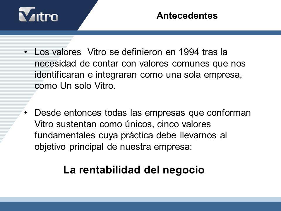 Antecedentes Los valores Vitro se definieron en 1994 tras la necesidad de contar con valores comunes que nos identificaran e integraran como una sola