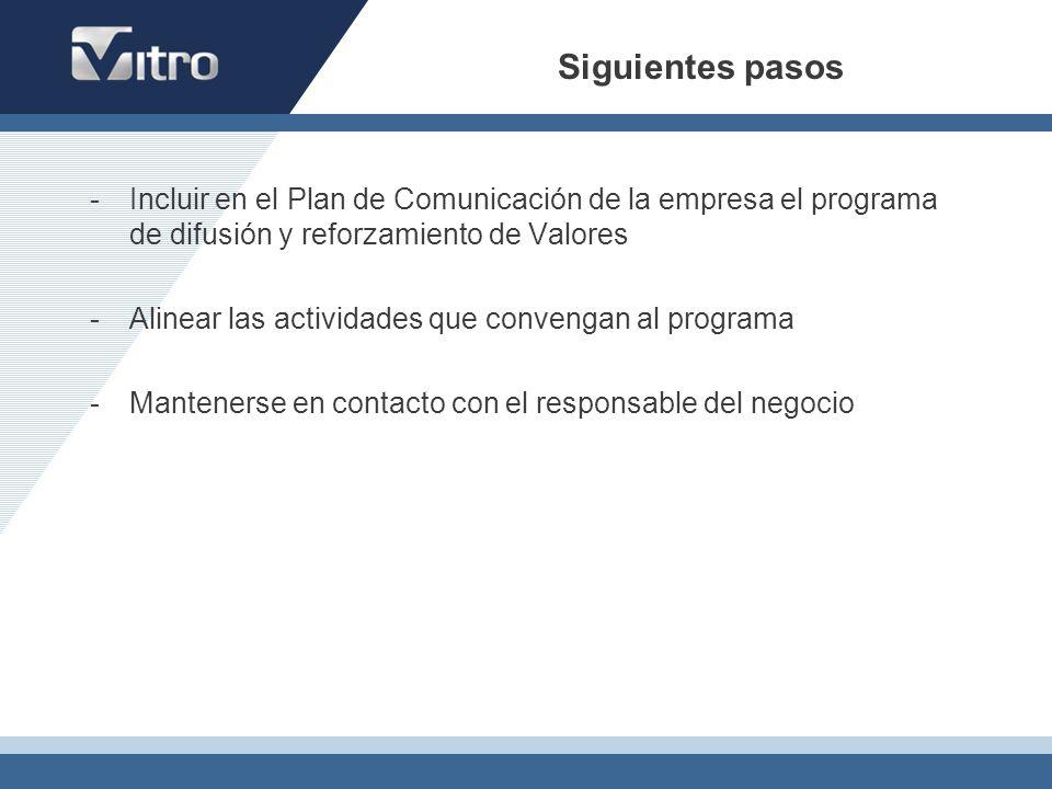 Siguientes pasos -Incluir en el Plan de Comunicación de la empresa el programa de difusión y reforzamiento de Valores -Alinear las actividades que con