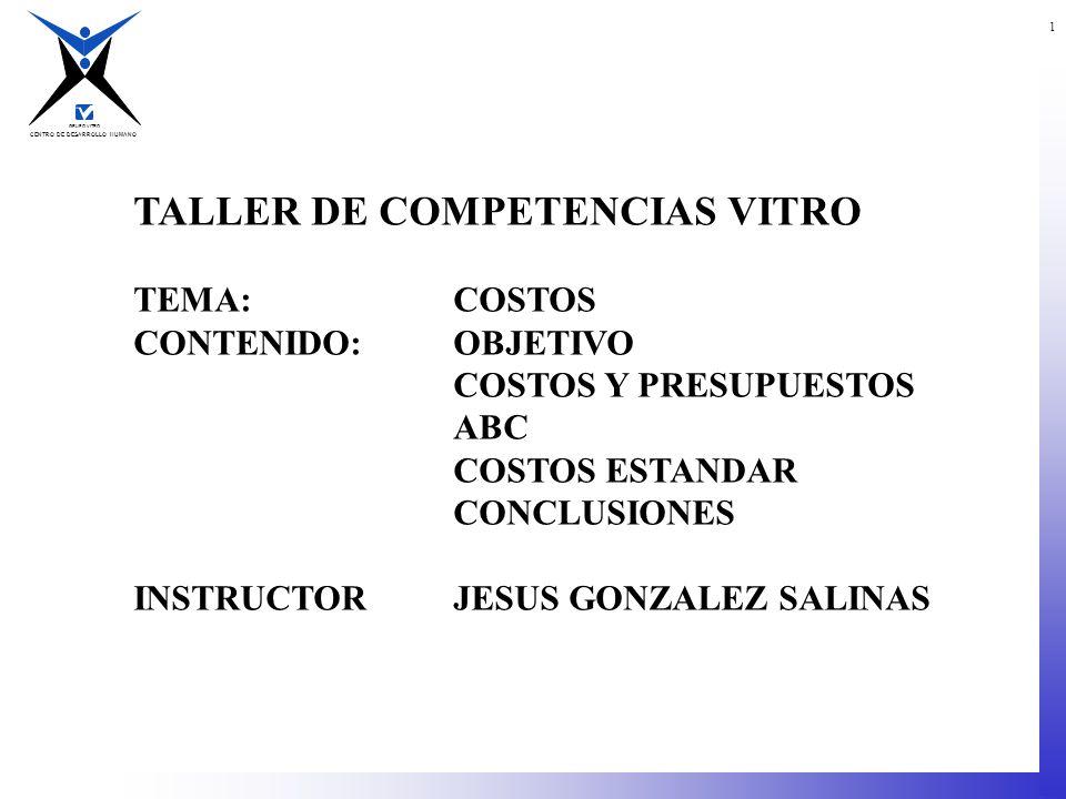 CENTRO DE DESARROLLO HUMANO GRUPO VITRO 1 TALLER DE COMPETENCIAS VITRO TEMA:COSTOS CONTENIDO:OBJETIVO COSTOS Y PRESUPUESTOS ABC COSTOS ESTANDAR CONCLU