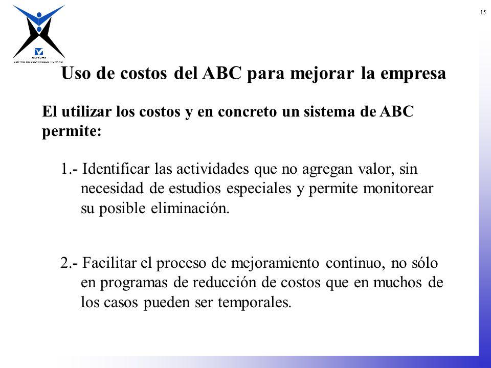 CENTRO DE DESARROLLO HUMANO GRUPO VITRO 15 Uso de costos del ABC para mejorar la empresa El utilizar los costos y en concreto un sistema de ABC permit