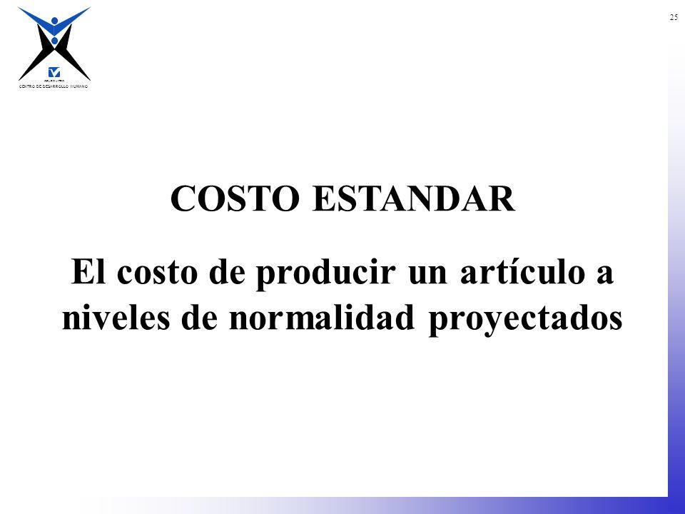 CENTRO DE DESARROLLO HUMANO GRUPO VITRO 25 COSTO ESTANDAR El costo de producir un artículo a niveles de normalidad proyectados
