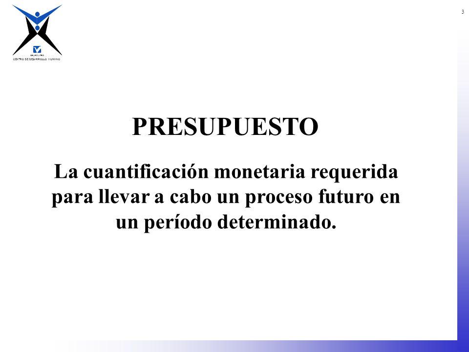CENTRO DE DESARROLLO HUMANO GRUPO VITRO 3 La cuantificación monetaria requerida para llevar a cabo un proceso futuro en un período determinado. PRESUP