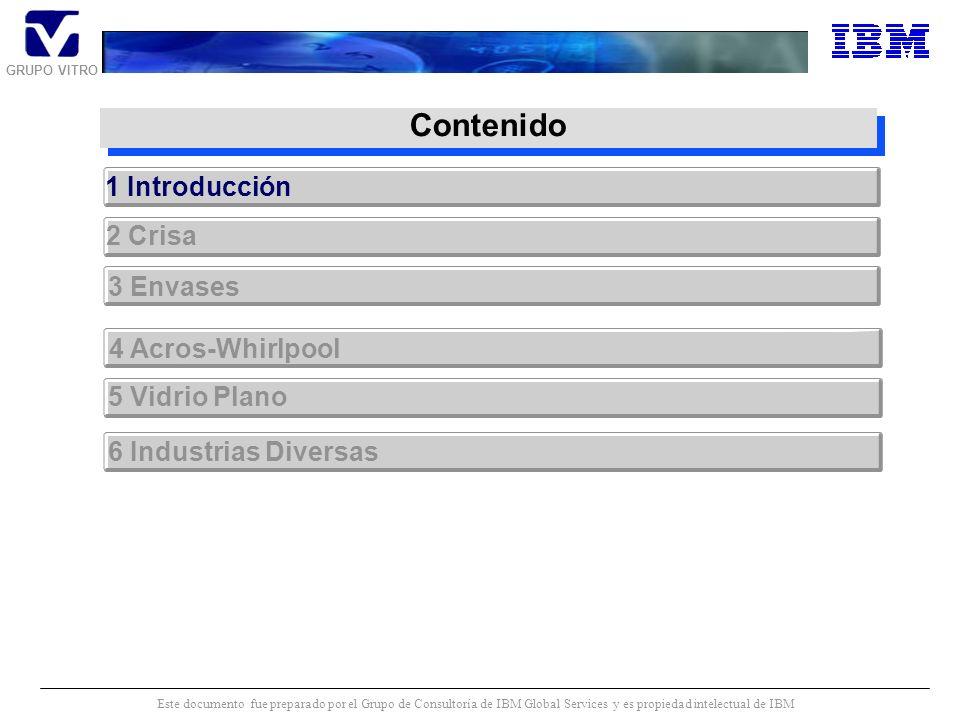 GRUPO VITRO Este documento fue preparado por el Grupo de Consultoría de IBM Global Services y es propiedad intelectual de IBM Contenido 1 Introducción 3 Envases 4 Acros-Whirlpool 6 Industrias Diversas 2 Crisa 5 Vidrio Plano