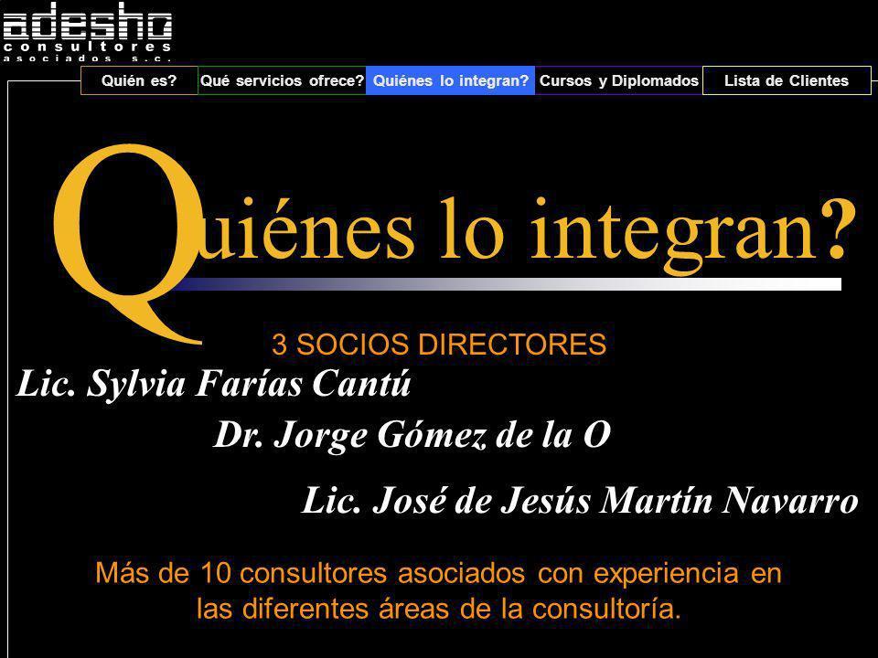 Quién es Qué servicios ofrece Quiénes lo integran Cursos y DiplomadosLista de Clientes 3 SOCIOS DIRECTORES Lic.