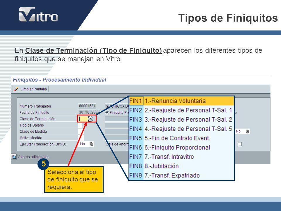 Tipos de Finiquitos Selecciona el tipo de finiquito que se requiera. 5 En Clase de Terminación (Tipo de Finiquito) aparecen los diferentes tipos de fi