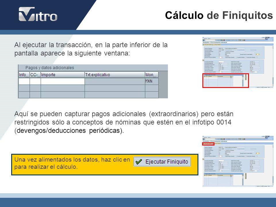 Una vez alimentados los datos, haz clic en para realizar el cálculo. Al ejecutar la transacción, en la parte inferior de la pantalla aparece la siguie