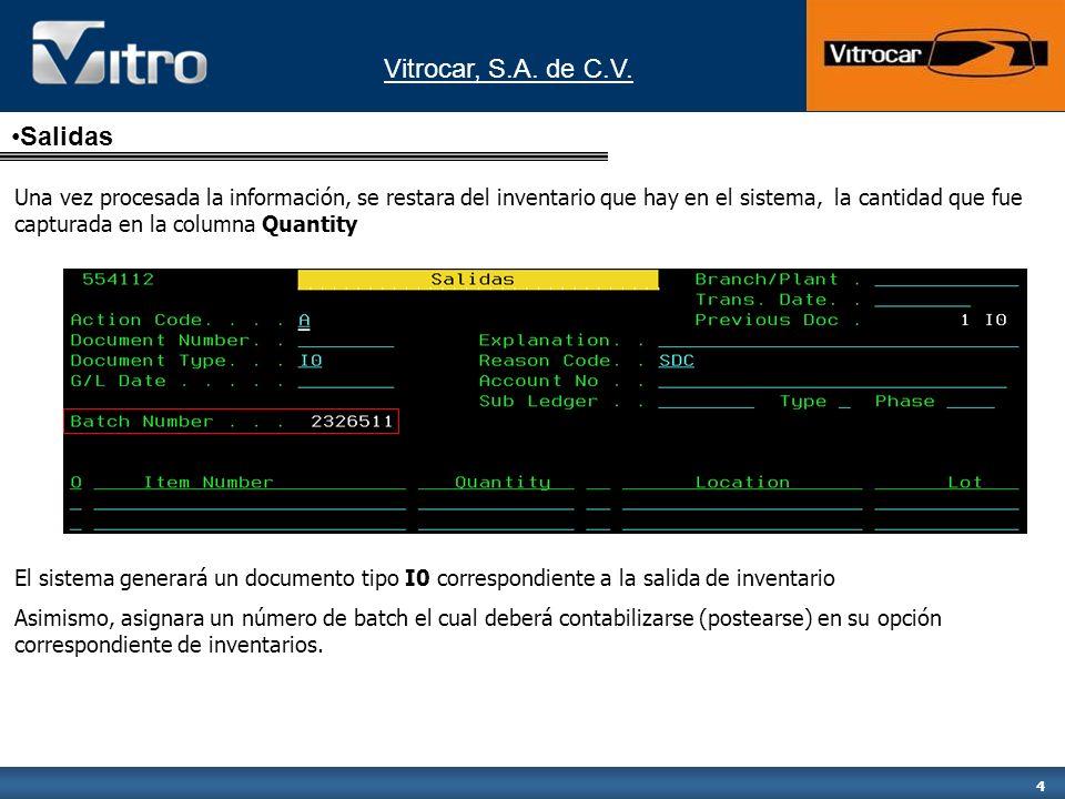 Vitrocar, S.A. de C.V. 4 Una vez procesada la información, se restara del inventario que hay en el sistema, la cantidad que fue capturada en la column