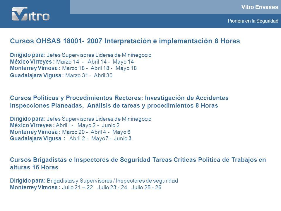 Vitro Envases Pionera en la Seguridad Cursos OHSAS 18001- 2007 Interpretación e implementación 8 Horas Dirigido para: Jefes Supervisores Lideres de Mi