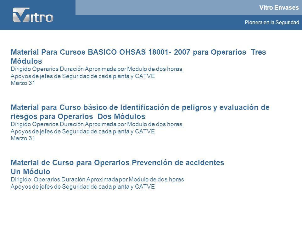 Vitro Envases Pionera en la Seguridad Material Para Cursos BASICO OHSAS 18001- 2007 para Operarios Tres Módulos Dirigido Operarios Duración Aproximada