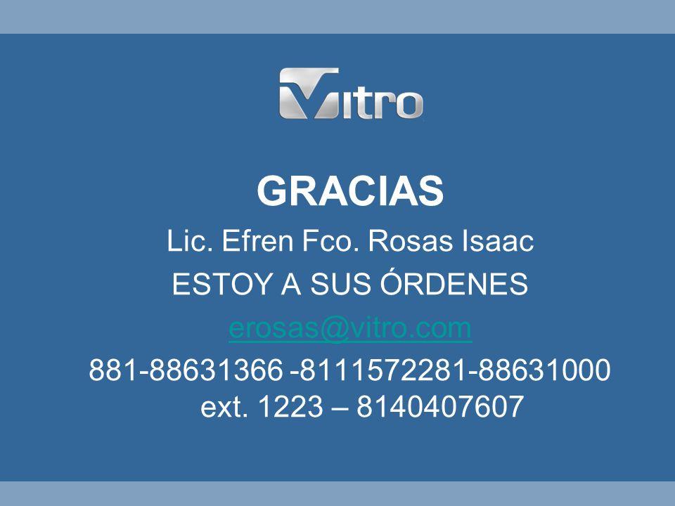Vitro Envases Pionera en la Seguridad GRACIAS Lic. Efren Fco. Rosas Isaac ESTOY A SUS ÓRDENES erosas@vitro.com 881-88631366 -8111572281-88631000 ext.