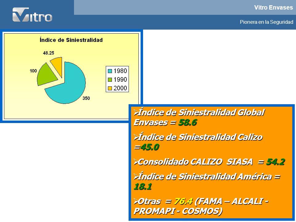 Vitro Envases Pionera en la Seguridad Índice de Siniestralidad Global Envases = 58.6 Índice de Siniestralidad Global Envases = 58.6 Índice de Siniestr