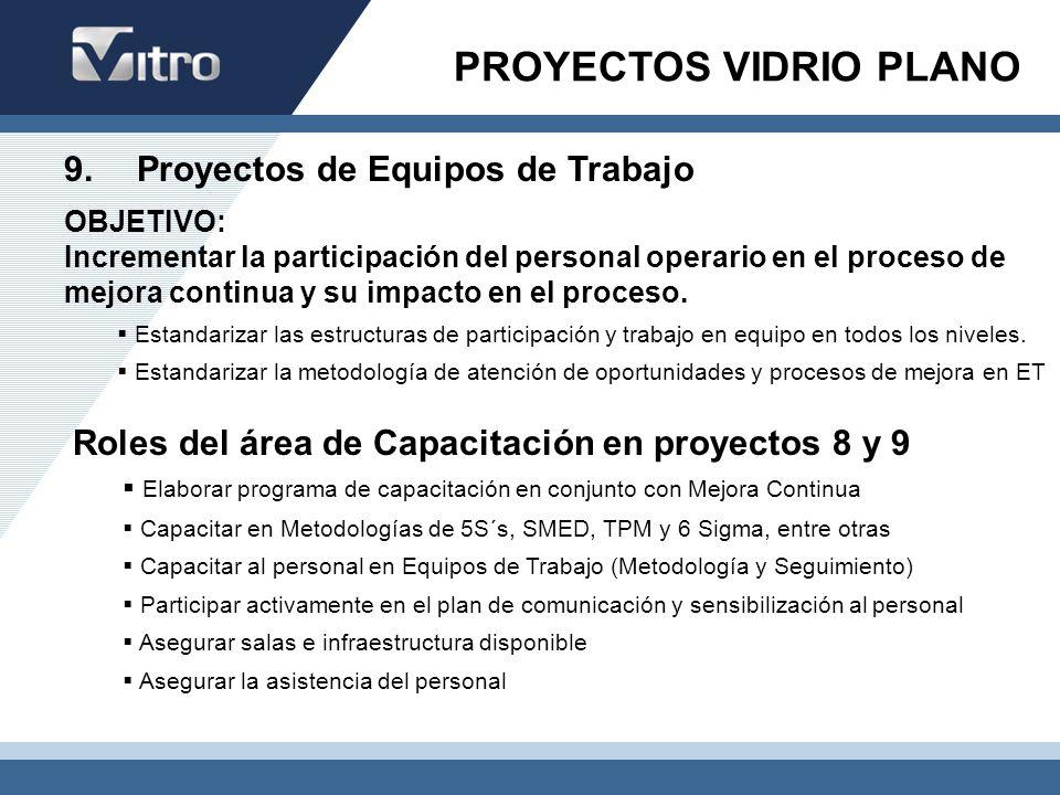 9. Proyectos de Equipos de Trabajo OBJETIVO: Incrementar la participación del personal operario en el proceso de mejora continua y su impacto en el pr