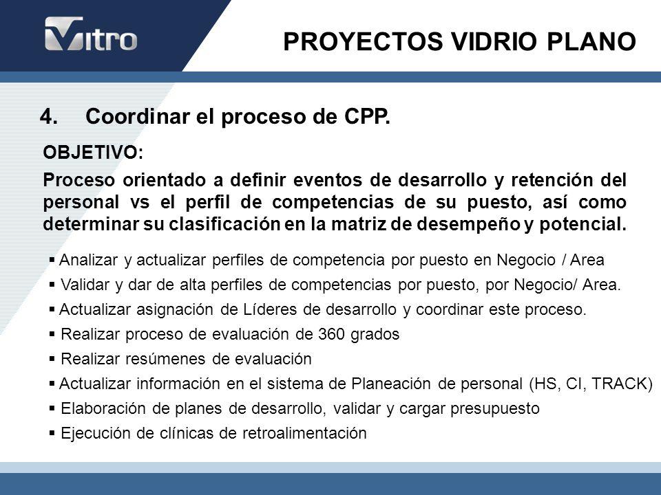 4. Coordinar el proceso de CPP. Analizar y actualizar perfiles de competencia por puesto en Negocio / Area Validar y dar de alta perfiles de competenc
