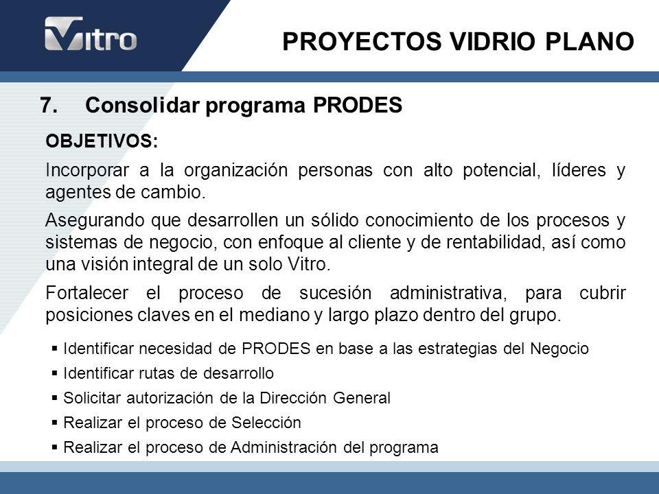 7. Consolidar programa PRODES Identificar necesidad de PRODES en base a las estrategias del Negocio Identificar rutas de desarrollo Solicitar autoriza