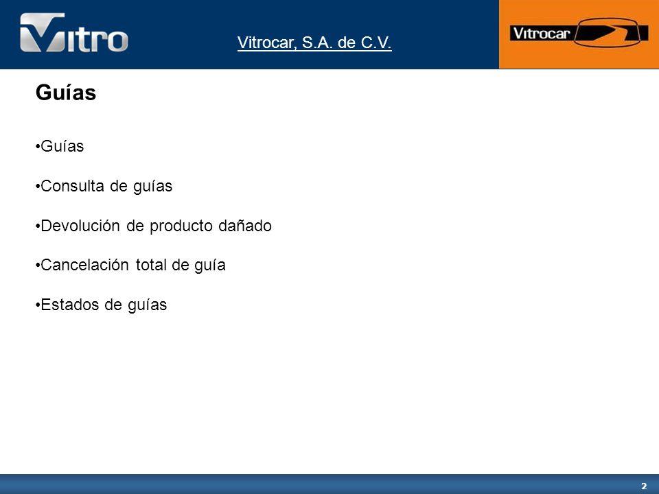Vitrocar, S.A.de C.V. 3 Guías Del menú inicial G584200 seleccione la opción 10.