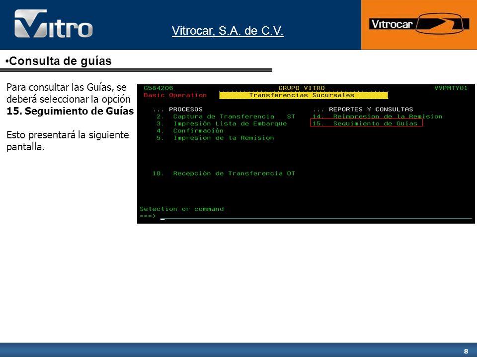 Vitrocar, S.A.de C.V. 19 Esta pantalla muestra el detalle de la transferencia.
