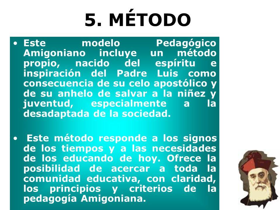 5. MÉTODO Este modelo Pedagógico Amigoniano incluye un método propio, nacido del espíritu e inspiración del Padre Luis como consecuencia de su celo ap