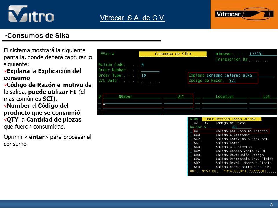 Vitrocar, S.A. de C.V. 3 El sistema mostrará la siguiente pantalla, donde deberá capturar lo siguiente: Explana la Explicación del consumo Código de R