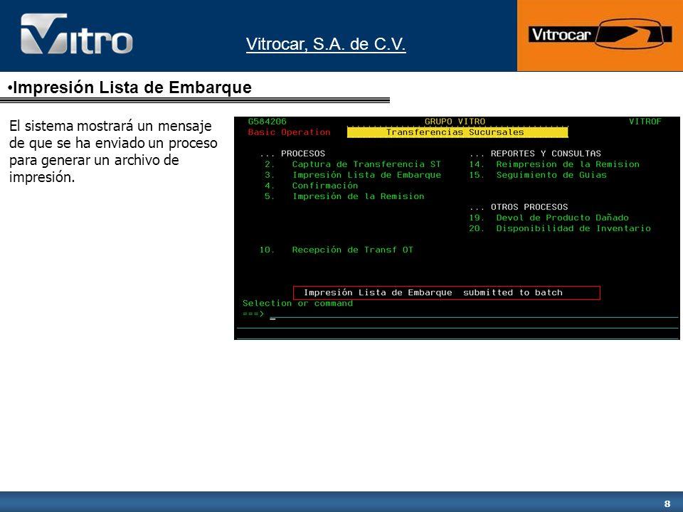 Vitrocar, S.A.de C.V. 9 Confirmación Para confirmar el envío del producto seleccionar la opción 4.