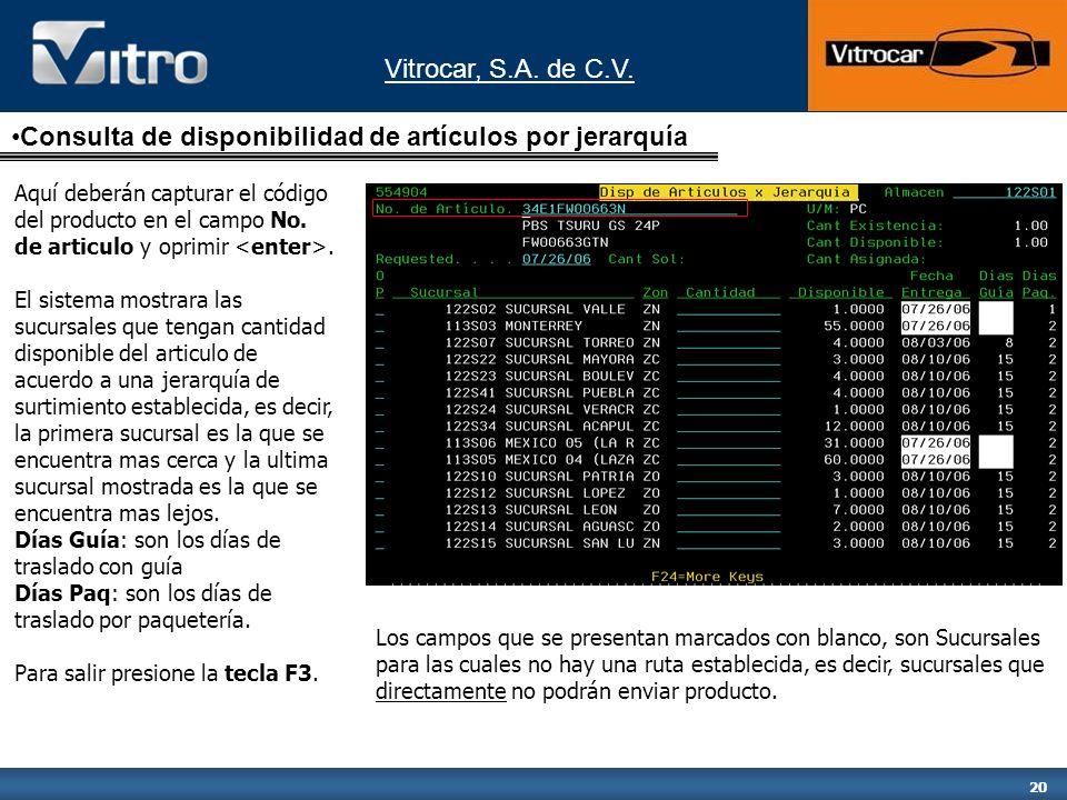 Vitrocar, S.A. de C.V. 20 Aquí deberán capturar el código del producto en el campo No.