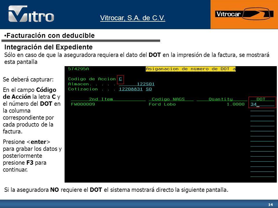 Vitrocar, S.A. de C.V. 14 Se deberá capturar: En el campo Código de Acción la letra C y el número del DOT en la columna correspondiente por cada produ