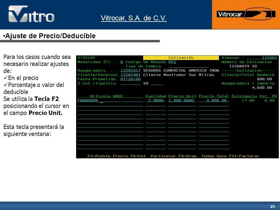 Vitrocar, S.A. de C.V. 25 Para los casos cuando sea necesario realizar ajustes de: En el precio Porcentaje o valor del deducible Se utiliza la Tecla F