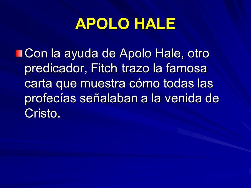 APOLO HALE Con la ayuda de Apolo Hale, otro predicador, Fitch trazo la famosa carta que muestra cómo todas las profecías señalaban a la venida de Cris