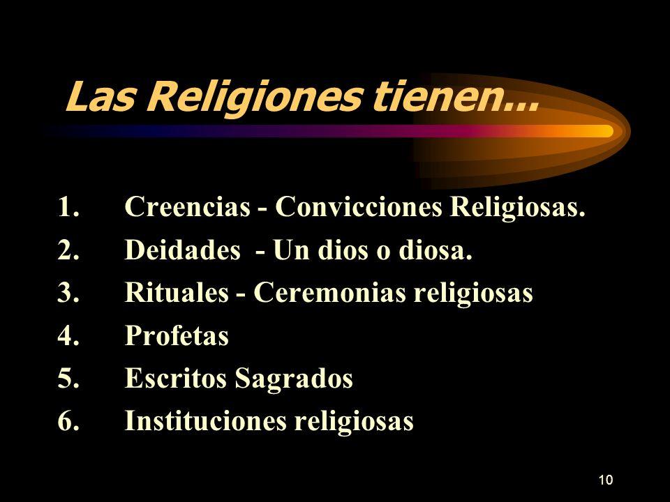 10 1.Creencias - Convicciones Religiosas. 2.Deidades - Un dios o diosa. 3.Rituales - Ceremonias religiosas 4.Profetas 5.Escritos Sagrados 6.Institucio
