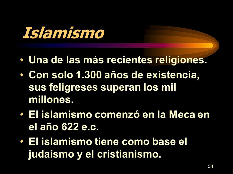 34 Islamismo Una de las más recientes religiones. Con solo 1.300 años de existencia, sus feligreses superan los mil millones. El islamismo comenzó en