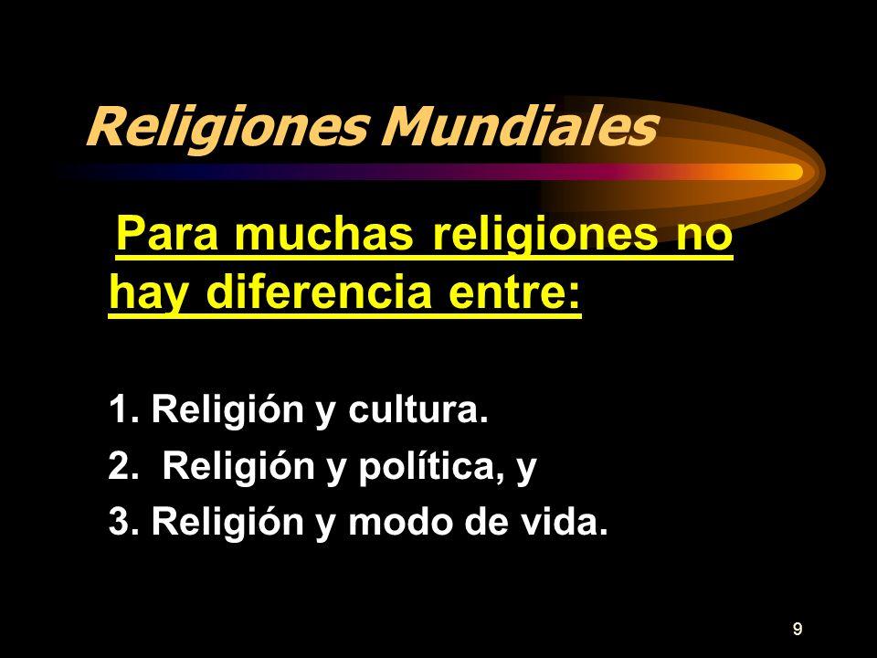 9 Religiones Mundiales Para muchas religiones no hay diferencia entre: 1. Religión y cultura. 2. Religión y política, y 3. Religión y modo de vida.
