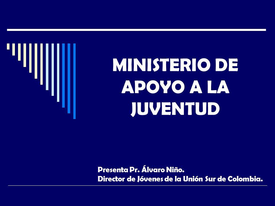 MINISTERIO DE APOYO A LA JUVENTUD Presenta Pr. Álvaro Niño.