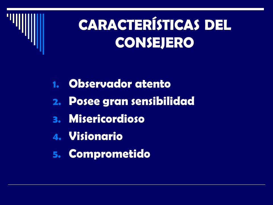 CARACTERÍSTICAS DEL CONSEJERO 1. Observador atento 2.