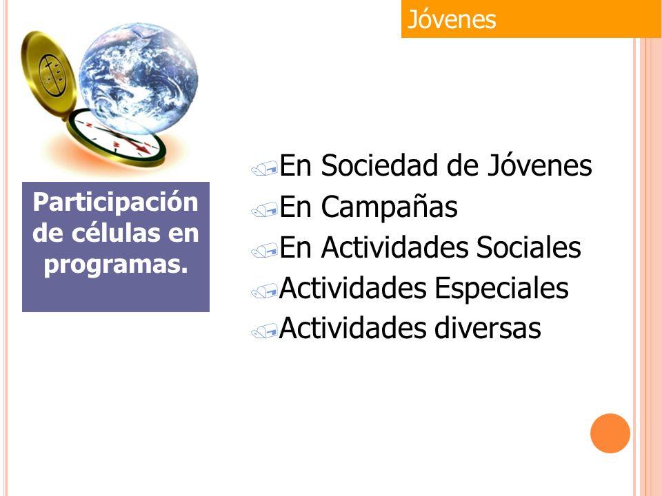 / En Sociedad de Jóvenes / En Campañas / En Actividades Sociales / Actividades Especiales / Actividades diversas Jóvenes Participación de células en p