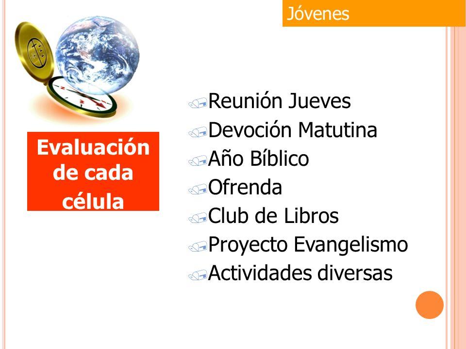 / Reunión Jueves / Devoción Matutina / Año Bíblico / Ofrenda / Club de Libros / Proyecto Evangelismo / Actividades diversas Jóvenes Evaluación de cada