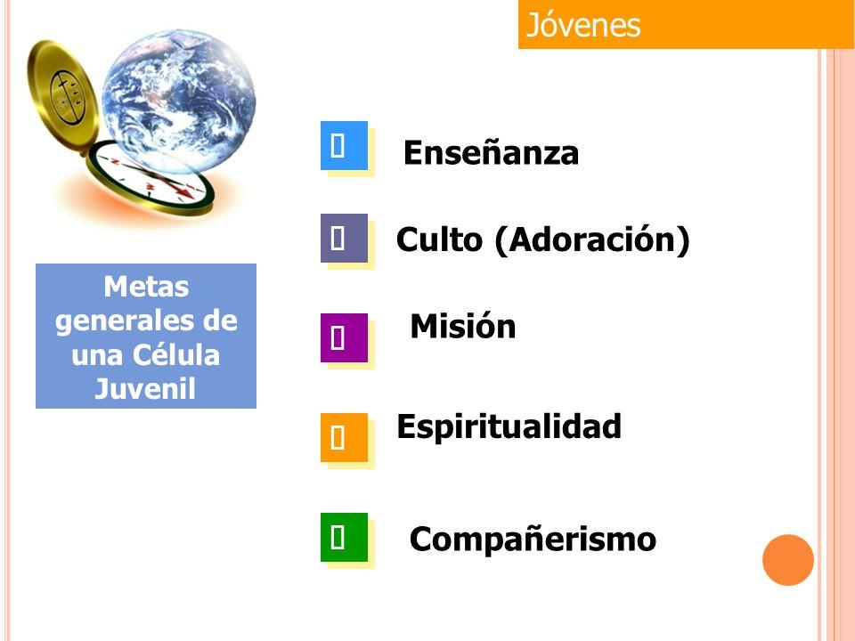 Espiritualidad Jóvenes Metas generales de una Célula Juvenil Enseñanza Culto (Adoración) Misión Compañerismo