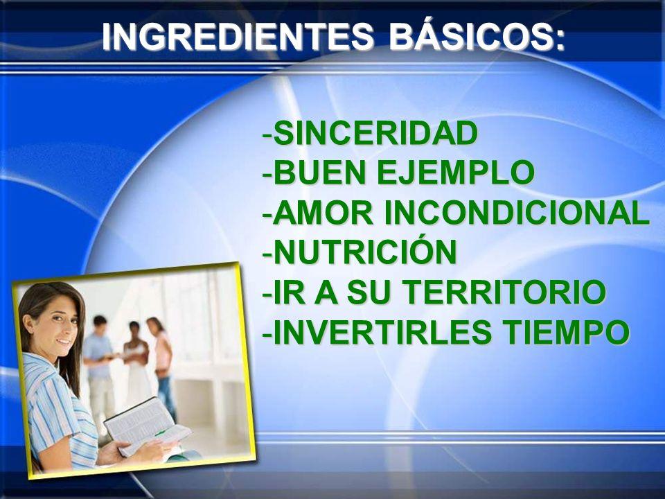 INGREDIENTES BÁSICOS: -S-S-S-SINCERIDAD -B-B-B-BUEN EJEMPLO -A-A-A-AMOR INCONDICIONAL -N-N-N-NUTRICIÓN -I-I-I-IR A SU TERRITORIO -I-I-I-INVERTIRLES TI