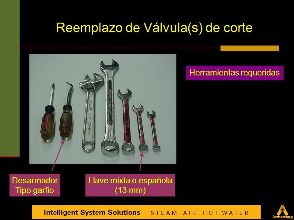 Reemplazo de una válvula decorte. Componentes tal y como se surten de fábrica Usado únicamente en el modelo TVS-3000 Reemplazo de Válvula(s) de corte