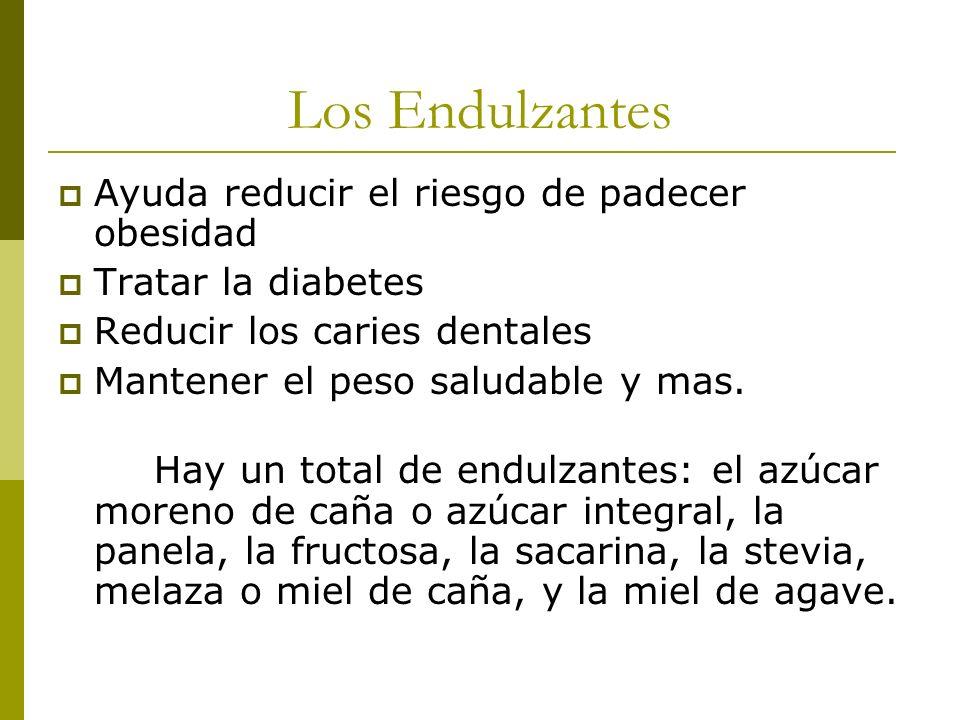 Los Endulzantes Ayuda reducir el riesgo de padecer obesidad Tratar la diabetes Reducir los caries dentales Mantener el peso saludable y mas. Hay un to