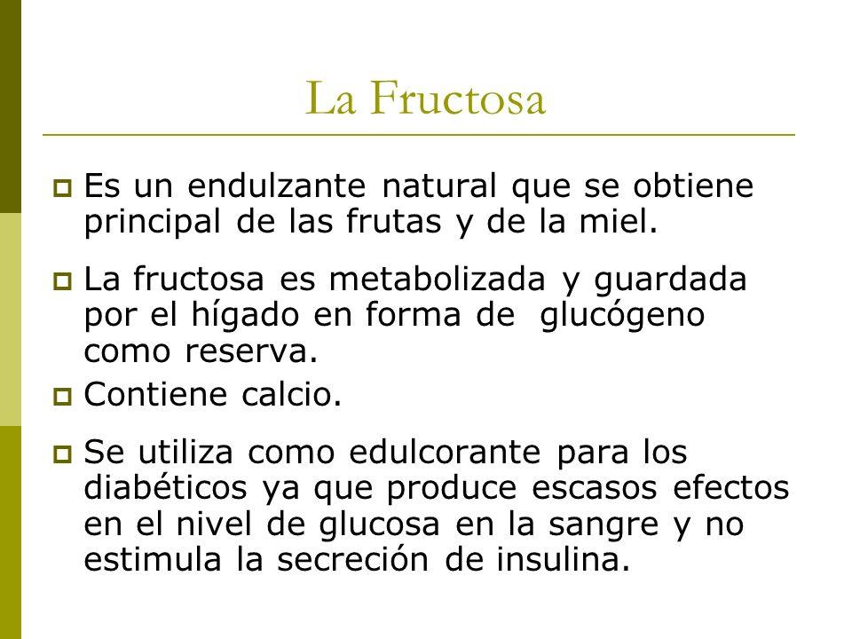 La Fructosa Es un endulzante natural que se obtiene principal de las frutas y de la miel. La fructosa es metabolizada y guardada por el hígado en form