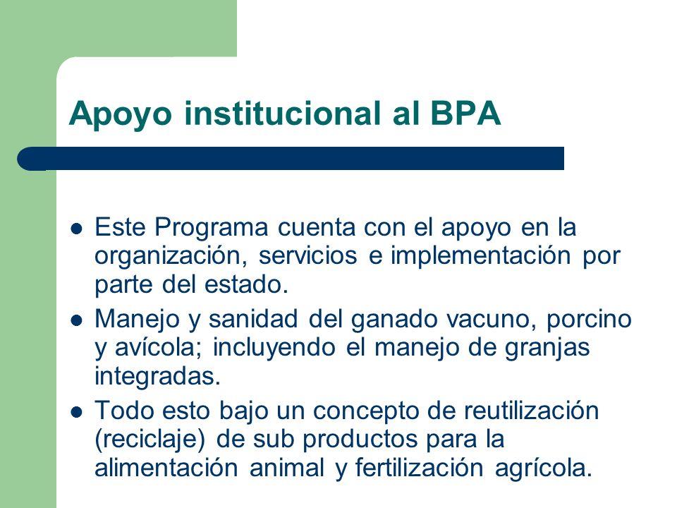 Apoyo institucional al BPA Este Programa cuenta con el apoyo en la organización, servicios e implementación por parte del estado. Manejo y sanidad del