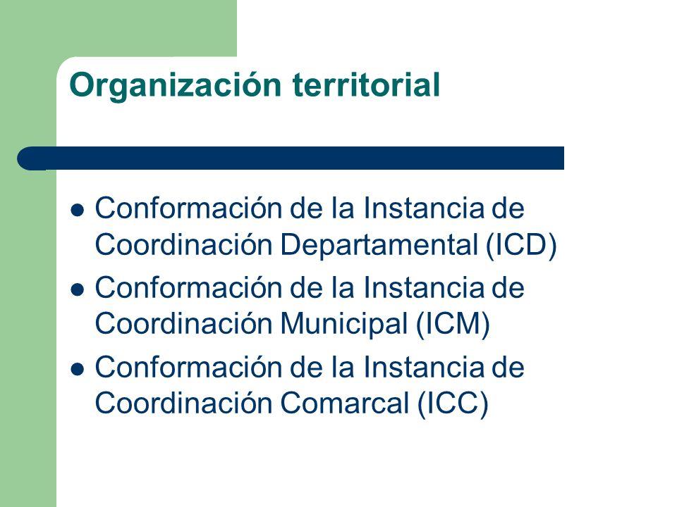 Organización territorial Conformación de la Instancia de Coordinación Departamental (ICD) Conformación de la Instancia de Coordinación Municipal (ICM)