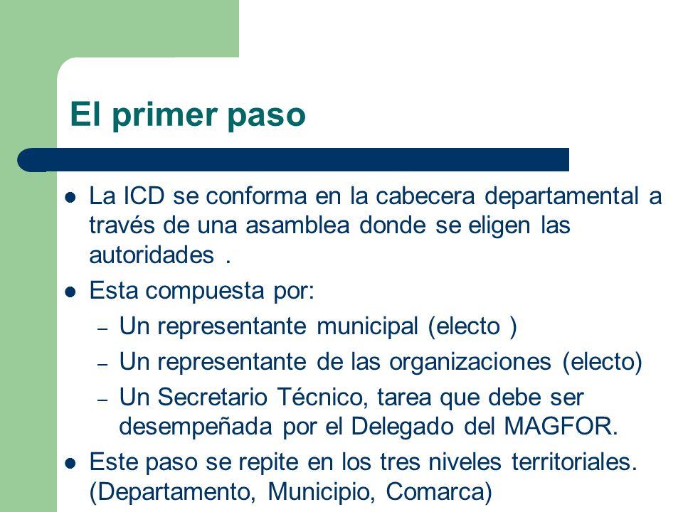 El primer paso La ICD se conforma en la cabecera departamental a través de una asamblea donde se eligen las autoridades. Esta compuesta por: – Un repr