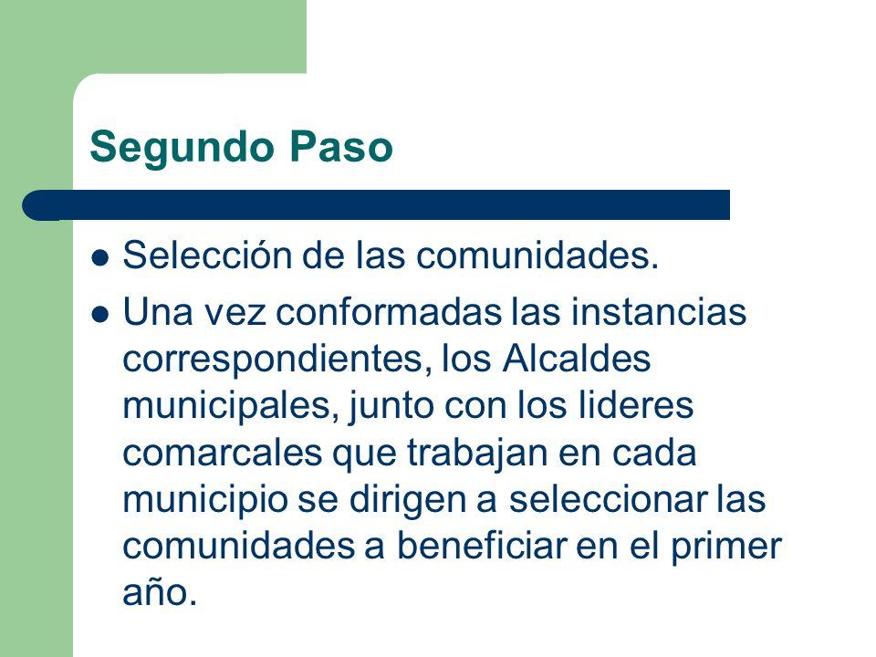 Segundo Paso Selección de las comunidades. Una vez conformadas las instancias correspondientes, los Alcaldes municipales, junto con los lideres comarc