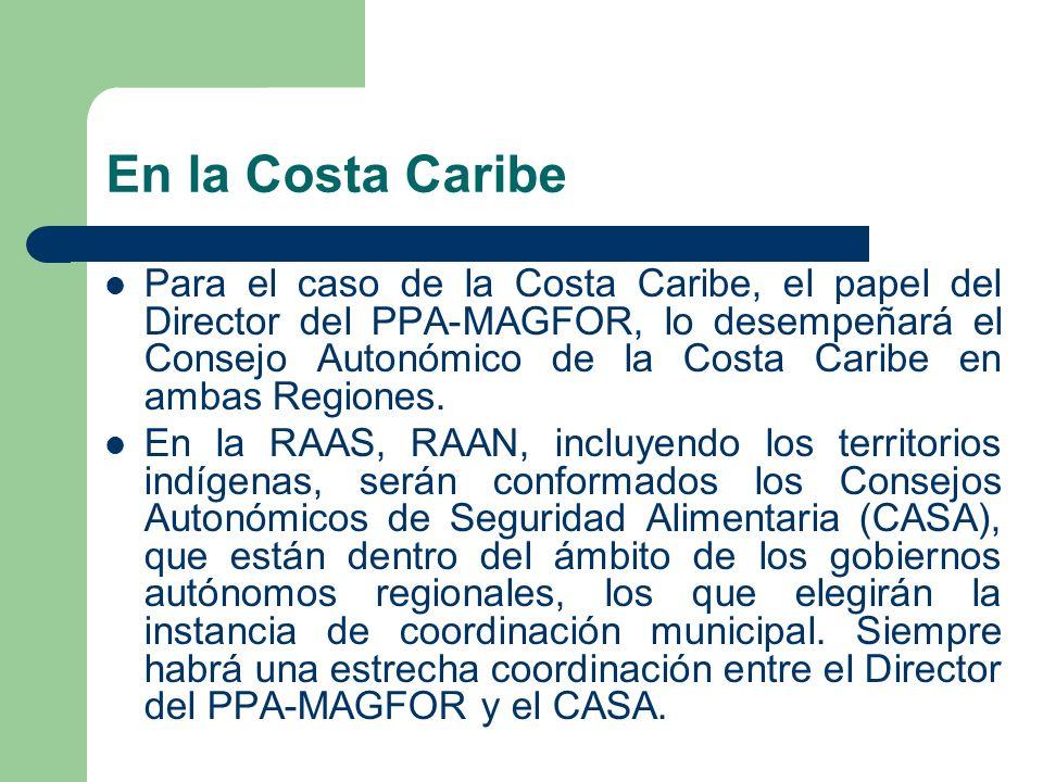 En la Costa Caribe Para el caso de la Costa Caribe, el papel del Director del PPA-MAGFOR, lo desempeñará el Consejo Autonómico de la Costa Caribe en a