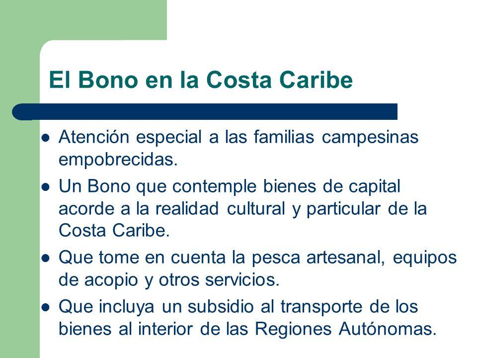 El Bono en la Costa Caribe Atención especial a las familias campesinas empobrecidas. Un Bono que contemple bienes de capital acorde a la realidad cult