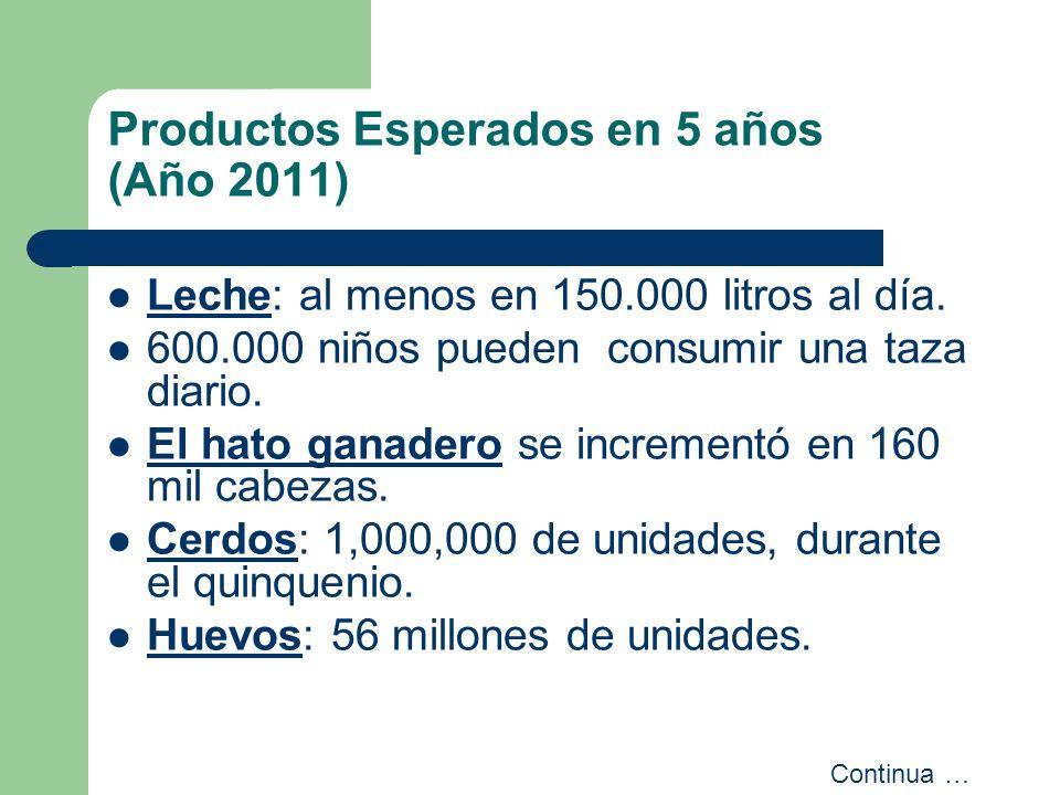 Productos Esperados en 5 años (Año 2011) Leche: al menos en 150.000 litros al día. 600.000 niños pueden consumir una taza diario. El hato ganadero se