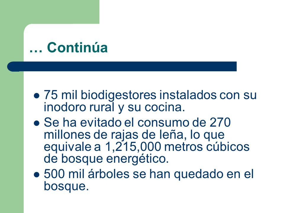 … Continúa 75 mil biodigestores instalados con su inodoro rural y su cocina. Se ha evitado el consumo de 270 millones de rajas de leña, lo que equival