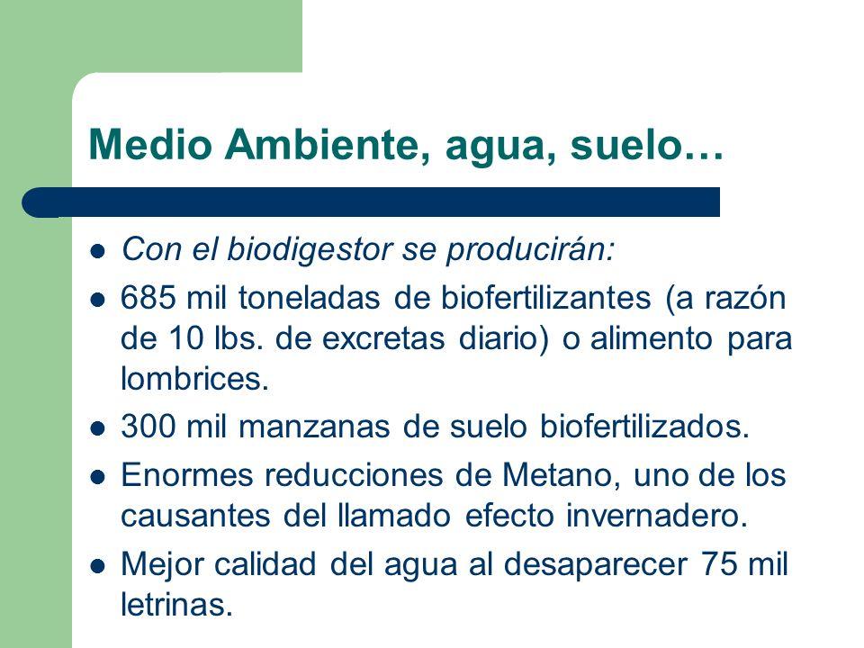 Medio Ambiente, agua, suelo… Con el biodigestor se producirán: 685 mil toneladas de biofertilizantes (a razón de 10 lbs. de excretas diario) o aliment