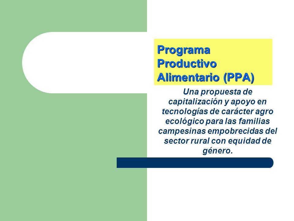 Programa Productivo Alimentario (PPA) Una propuesta de capitalización y apoyo en tecnologías de carácter agro ecológico para las familias campesinas e